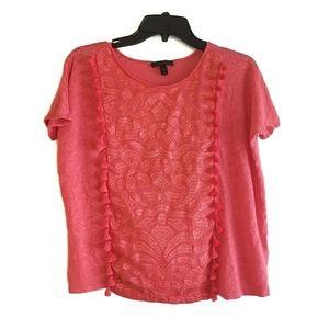 J. Crew Coral Linen Tassel Shirt